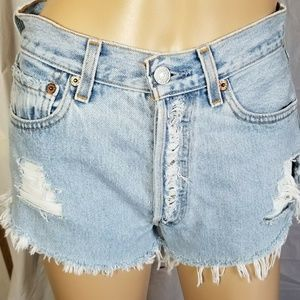 Levi's Shorts - Levi's 501s exposed button fly distressed fray hem